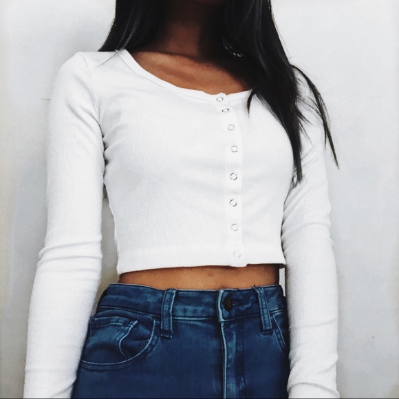 855c7a3bc04e3 Forever 21 Tops - Henley White Burton Long Sleeve Crop Top